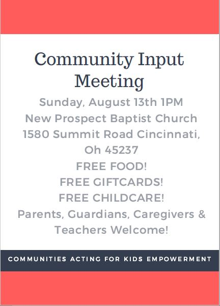 CAKE Community Input Meeting Details