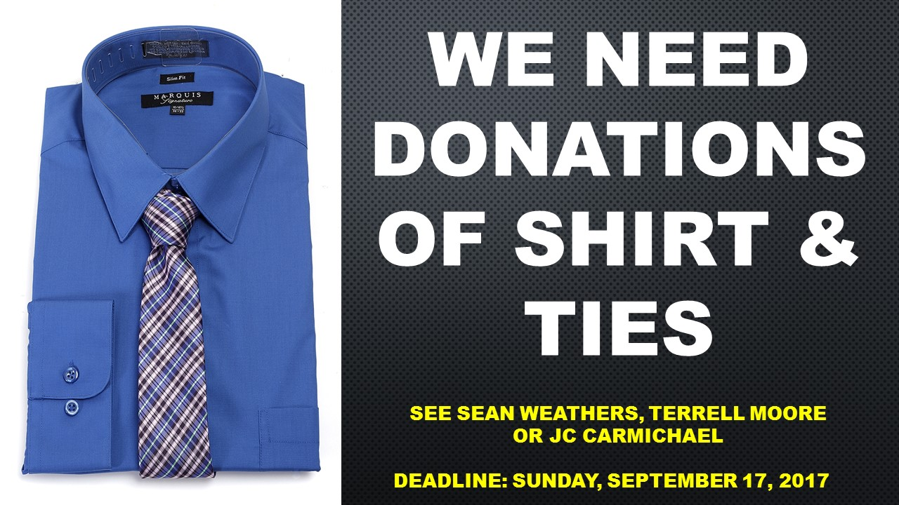 Young men shirt & tie donations