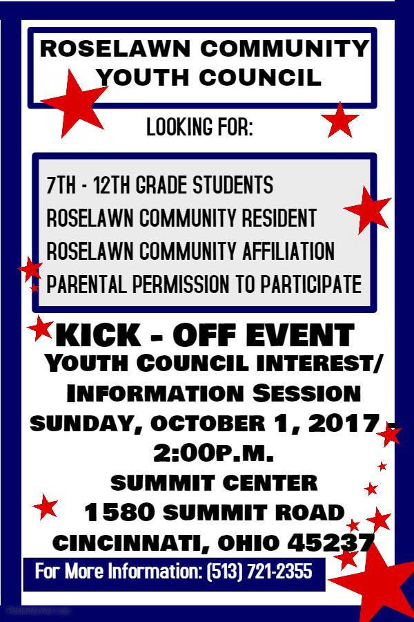 Roselawn Community Youth Council Kick-Off Event on Sunday, October 1, 2017