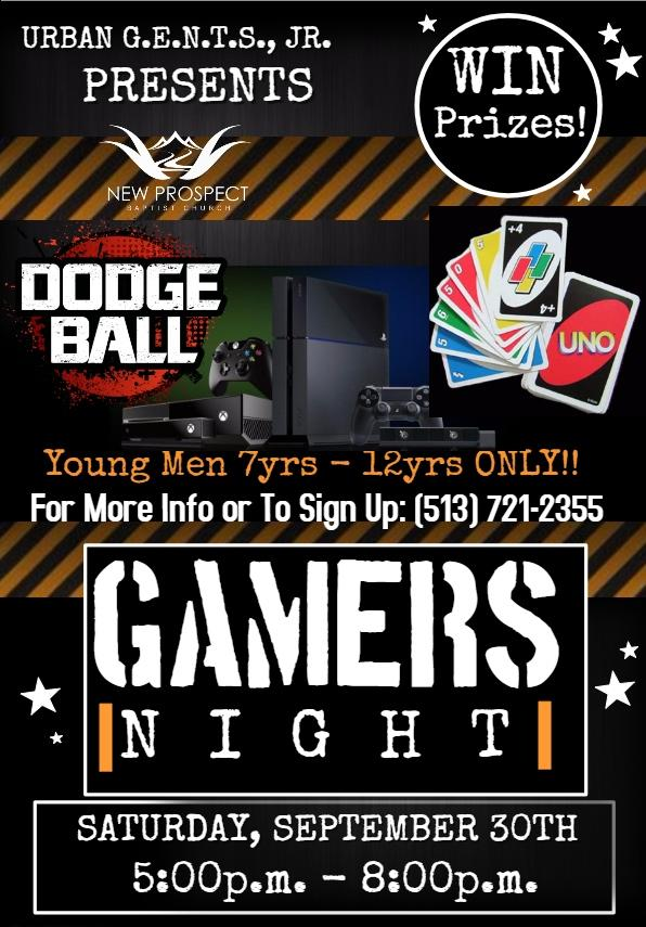 Urban G.E.N.T.S. Gamers Night on Saturday, September 30, 2017