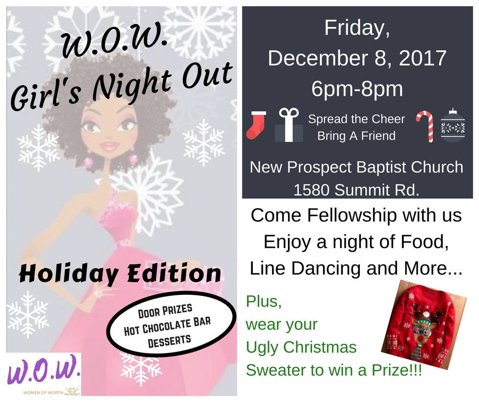 W.O.W. Girl's Night Out on Friday, December 8, 2017 6 p.m.
